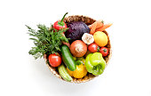 Fresh Vegetables in basket on white isolated background top view.