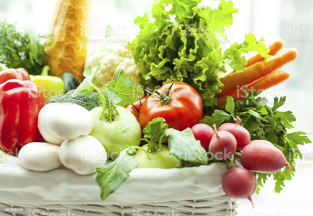 Fresh vegetables in basket royalty-free stock photo