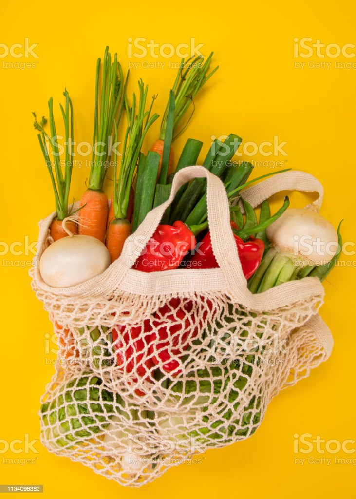 Fresh Vegetables In Bio Eco Cotton Bags On Yellow ...