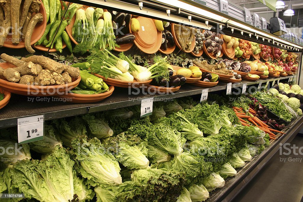 Fresh vegetables in the produce section royalty-free stock photo