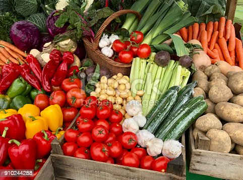 A assortment of fresh vegetables for sale on a market stand.