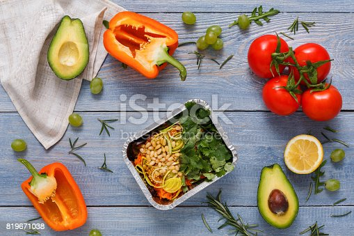 istock Fresh vegetables nutrition on blue wood background with copy space 819671038