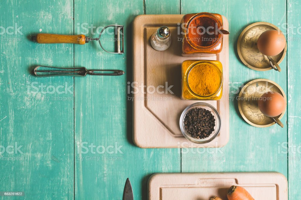 Fresh vegetables on a blue wooden table stock photo