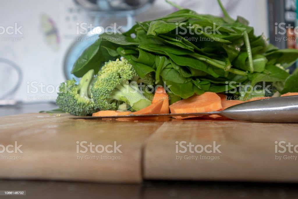 Fresh vegetables on a chopping board stock photo