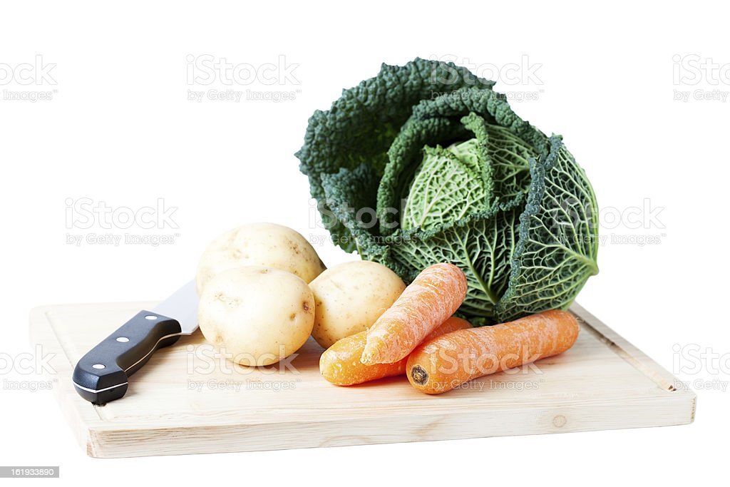 Fresh vegetables on a chopping board. royalty-free stock photo