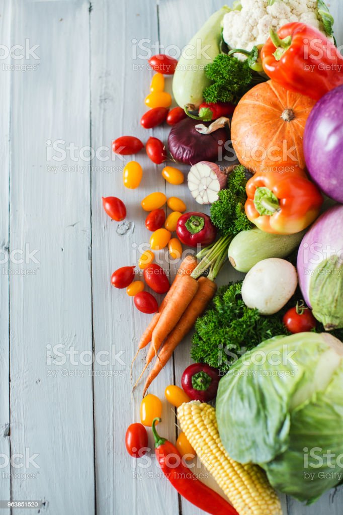 Fresh vegetables on a wooden background. Top view. - Royalty-free Agriculture Stock Photo