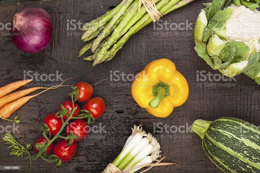 Fresh Vegetables: on old table royalty-free stock photo