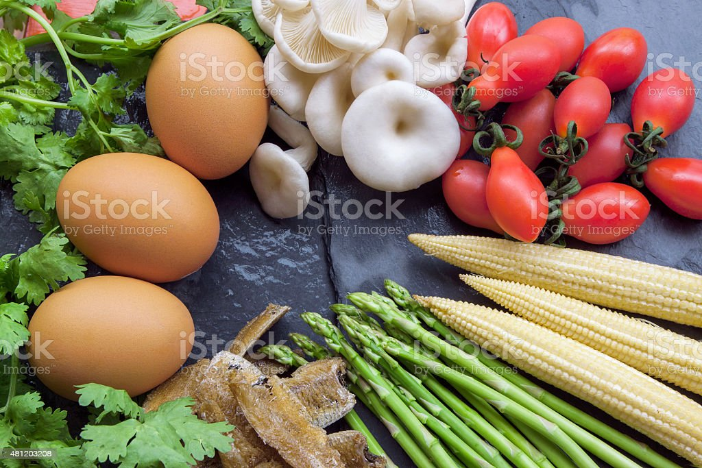 Fresh vegetables on stone table. Background. Healthy lifestyle stock photo