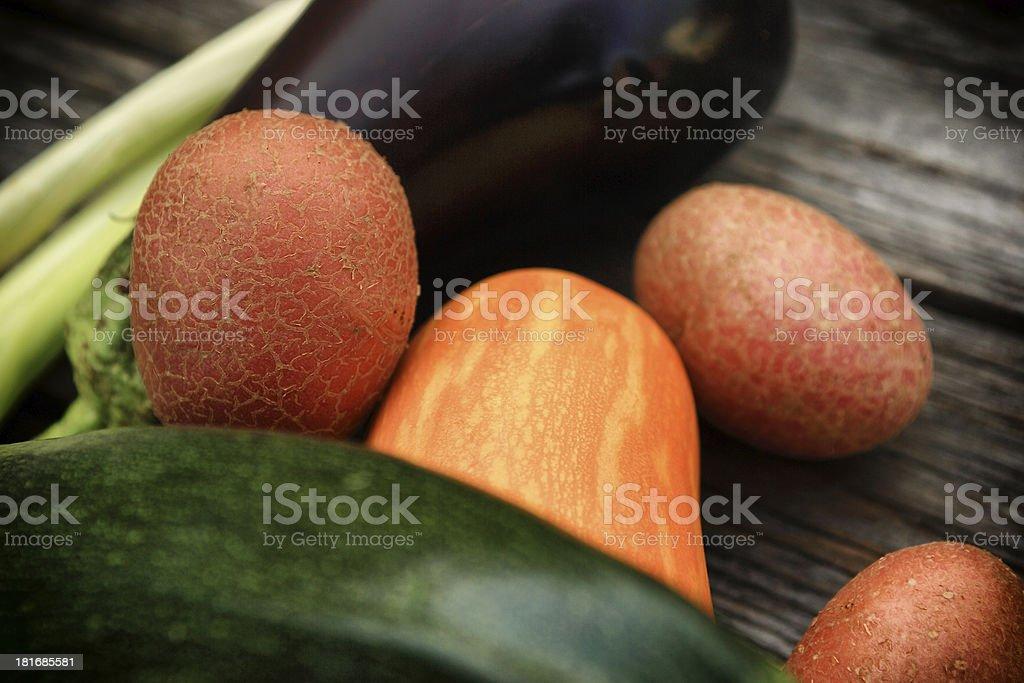 Fresh vegetables on wood background royalty-free stock photo