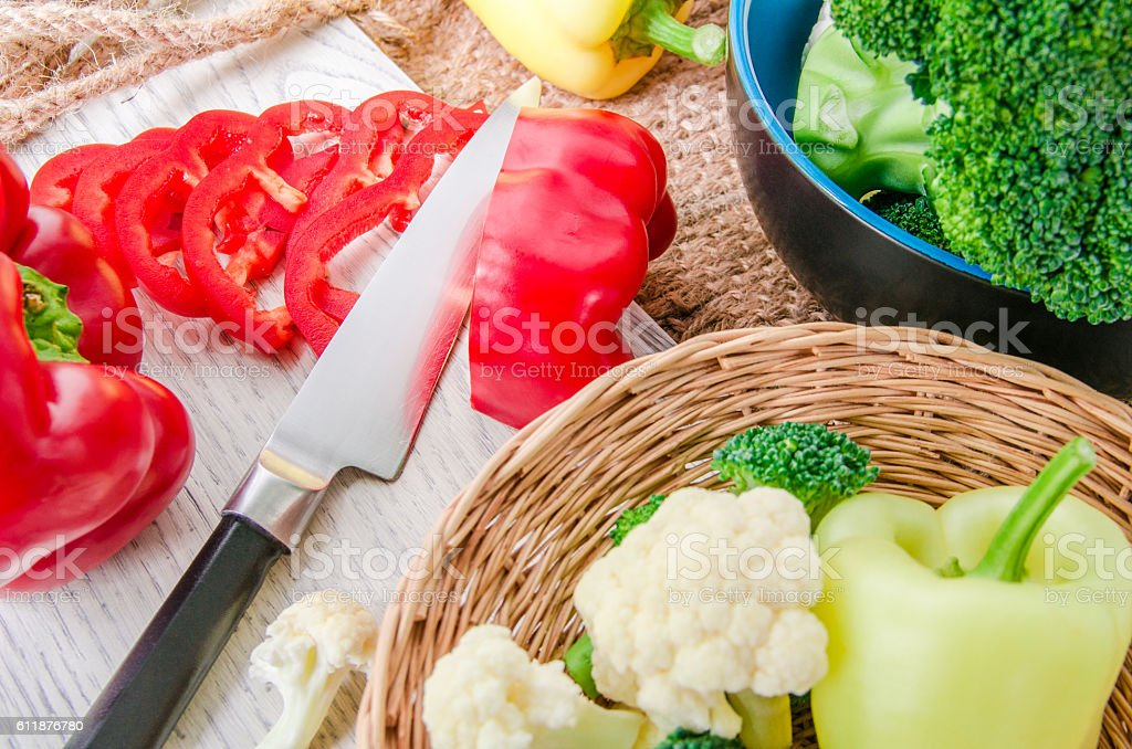 Fresh vegetables on wooden background stock photo