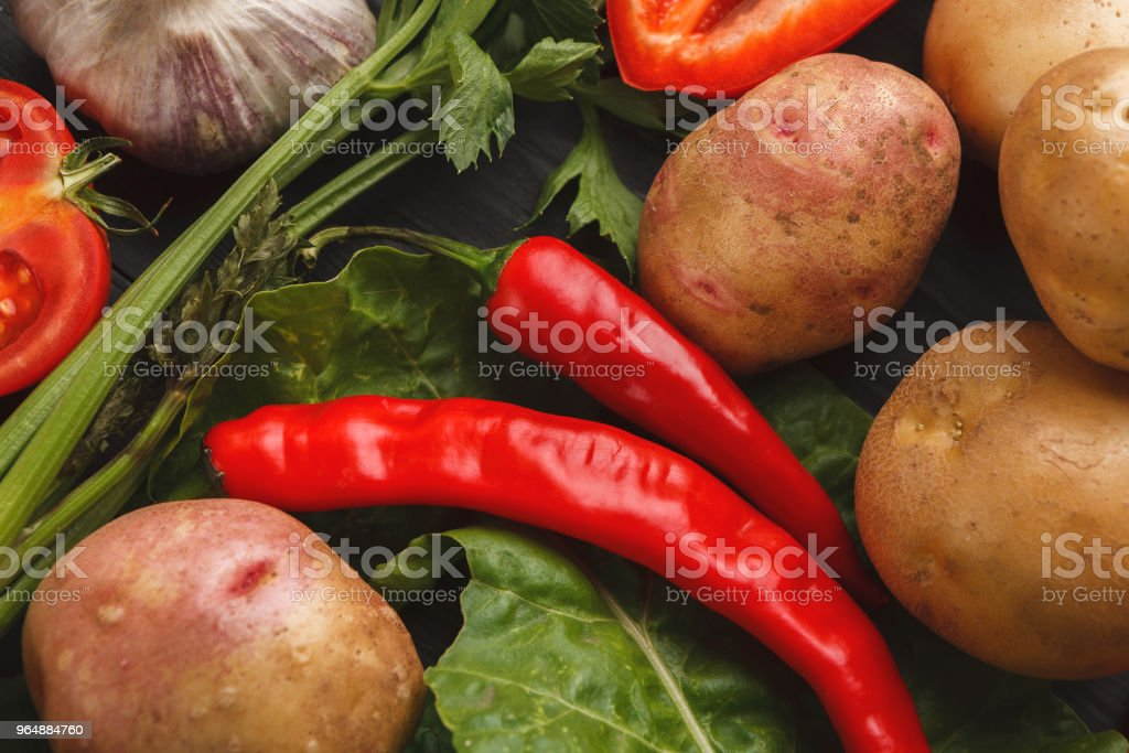 Fresh vegetables on wooden background royalty-free stock photo