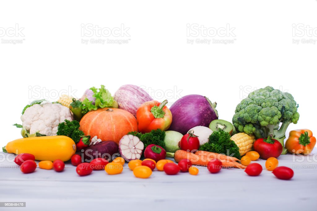 Fresh vegetables on wooden table. Isolated. - Royalty-free Agriculture Stock Photo