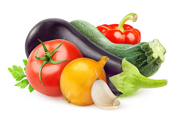 Fresh vegetables Fresh vegetables (ratatouille ingredients) isolated on white. squash vegetable stock pictures, royalty-free photos & images