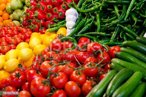 Various kinds of fresh vegetables in the grocery