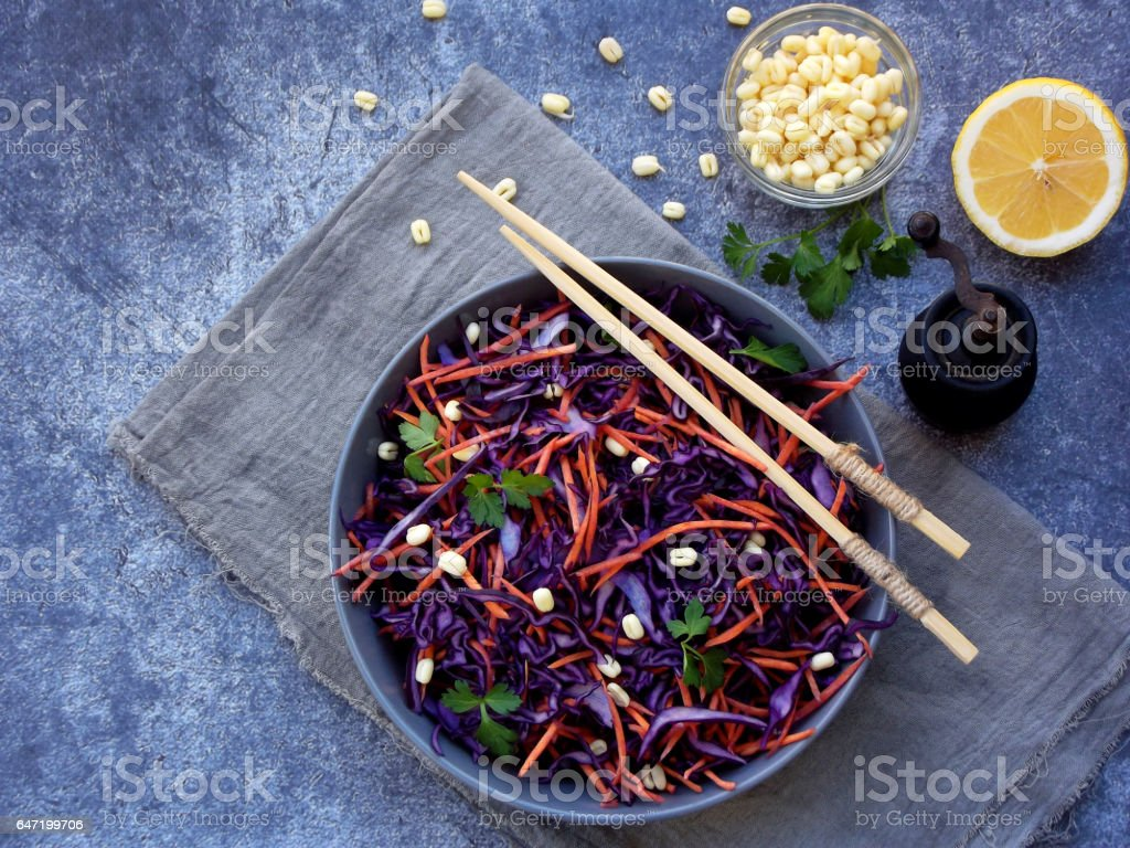 Fresh vegetables salad with purple cabbage, carrot, sprouted mung, parsley on grey clay plate on dark background. Cole Slaw Salad of red cabbage. Top view. Copy space stock photo
