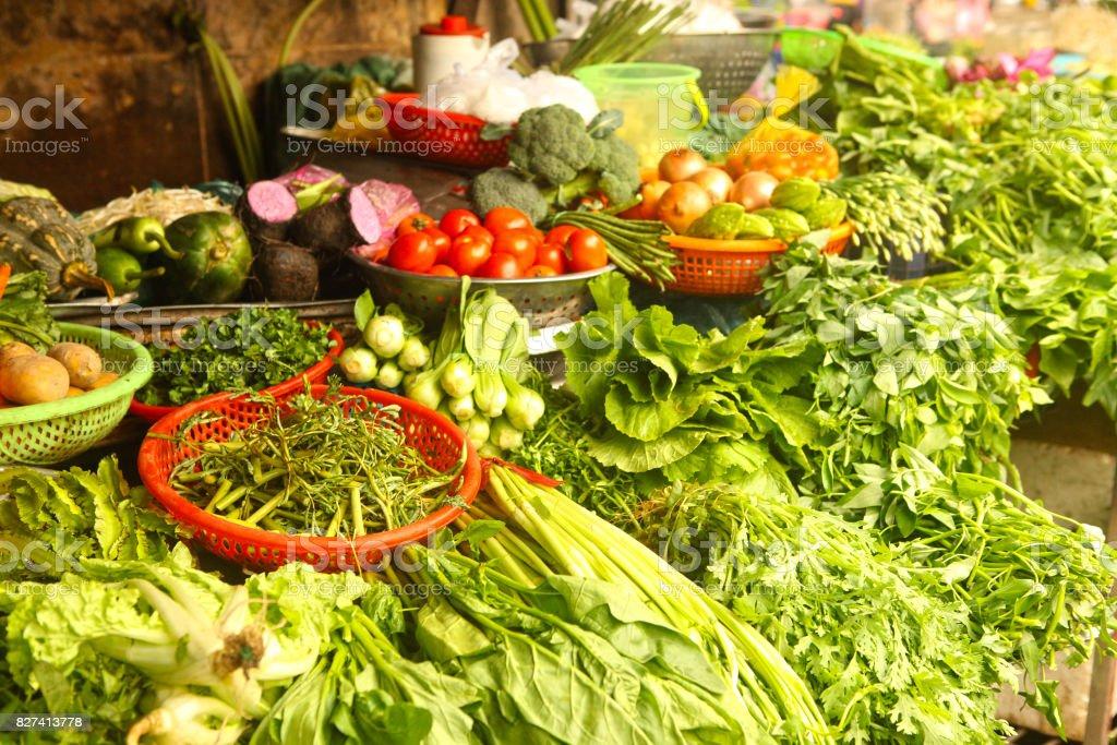 fresh vegetables salat onion green on market stock photo