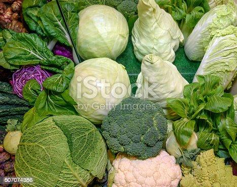istock Fresh vegetables. Savoy, chinese,red cabbage, broccoli, cauliflower, romanesco broccoli 507074386