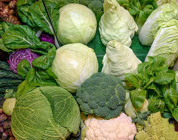 Fresh vegetables. Savoy, chinese,red cabbage, broccoli, cauliflower, romanesco broccoli stock photo
