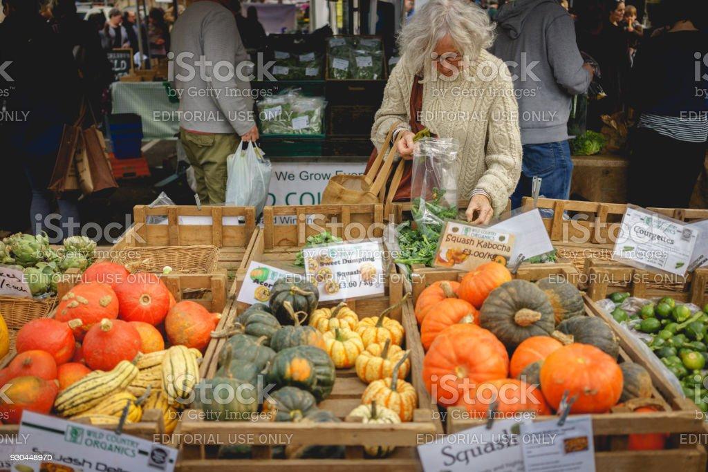 London, UK - March, 2018. Fresh vegetables stall in Blackheath...
