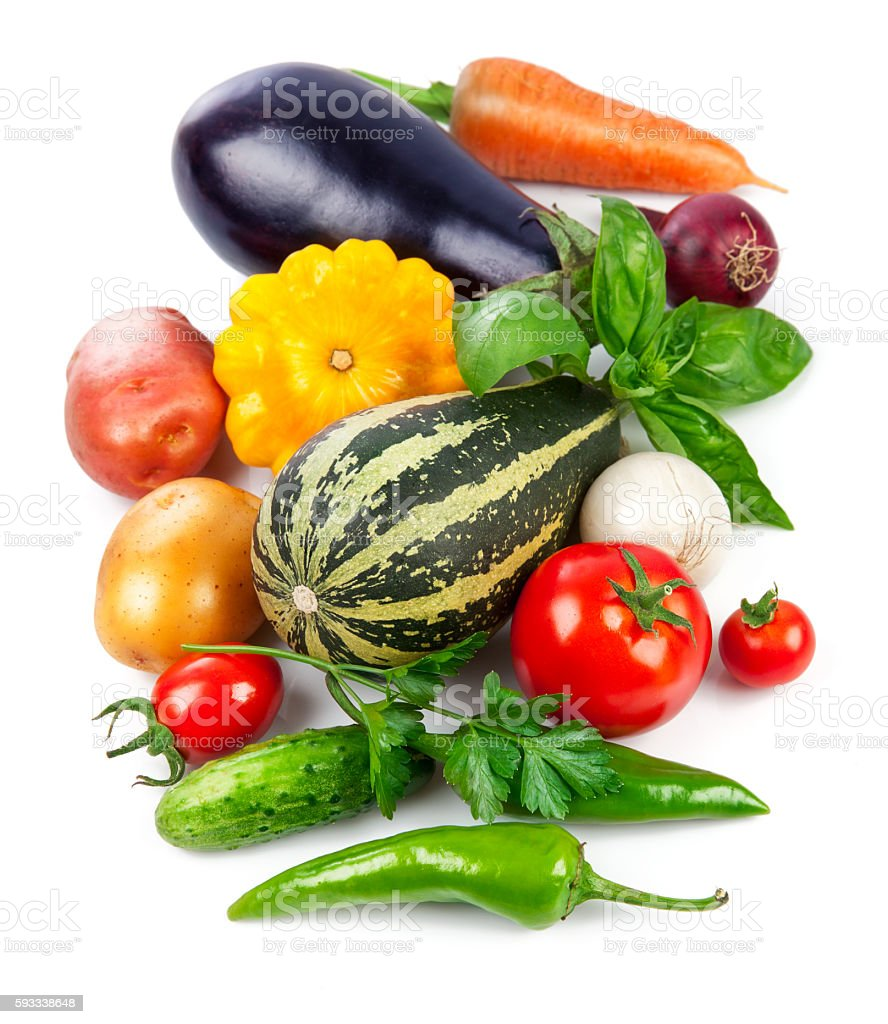 Fresh vegetables with green leaves and herbs stock photo