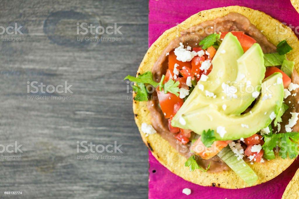 Fresh vegeterian Mexican tostadas stock photo