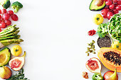 Fresh veggies and fruits food frame on white background with copy space.