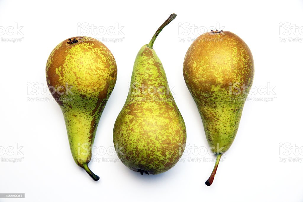 Fresh view of ordinary pears. Geometric composition of triplet stock photo