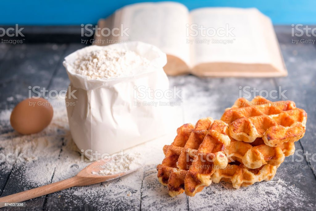 Fresh waffles and ingredients stock photo