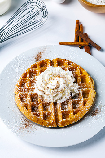 Fresh waffles breakfast