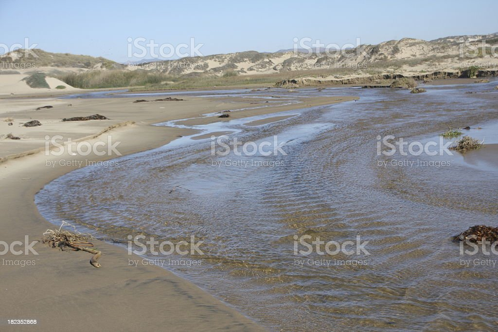 Fresh Water Creek flowing into the Pacific Ocean stock photo