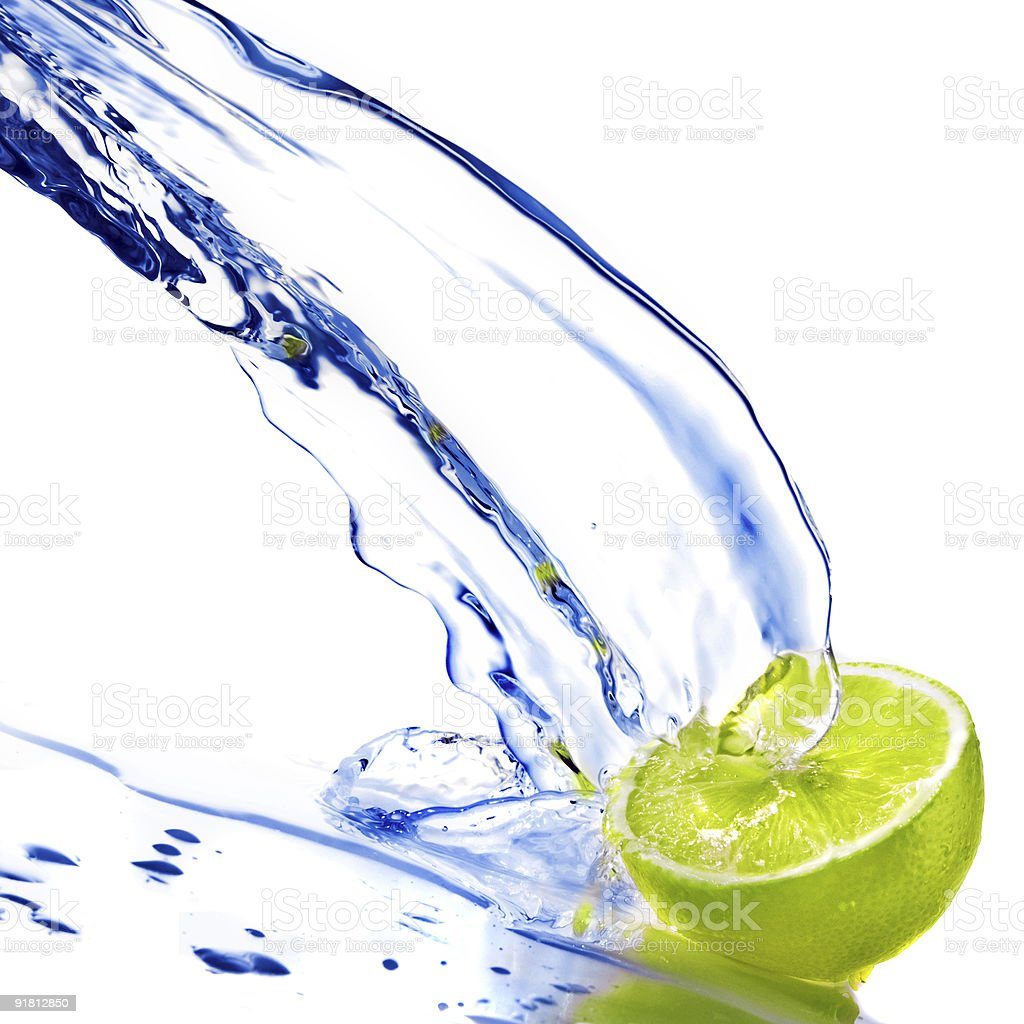 fresh water splash and lime isolated on white royalty-free stock photo
