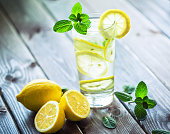 Fresh water with lemon and mint