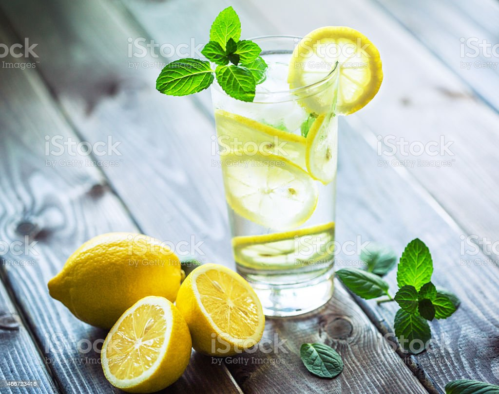Fresh water with lemon and mint stock photo