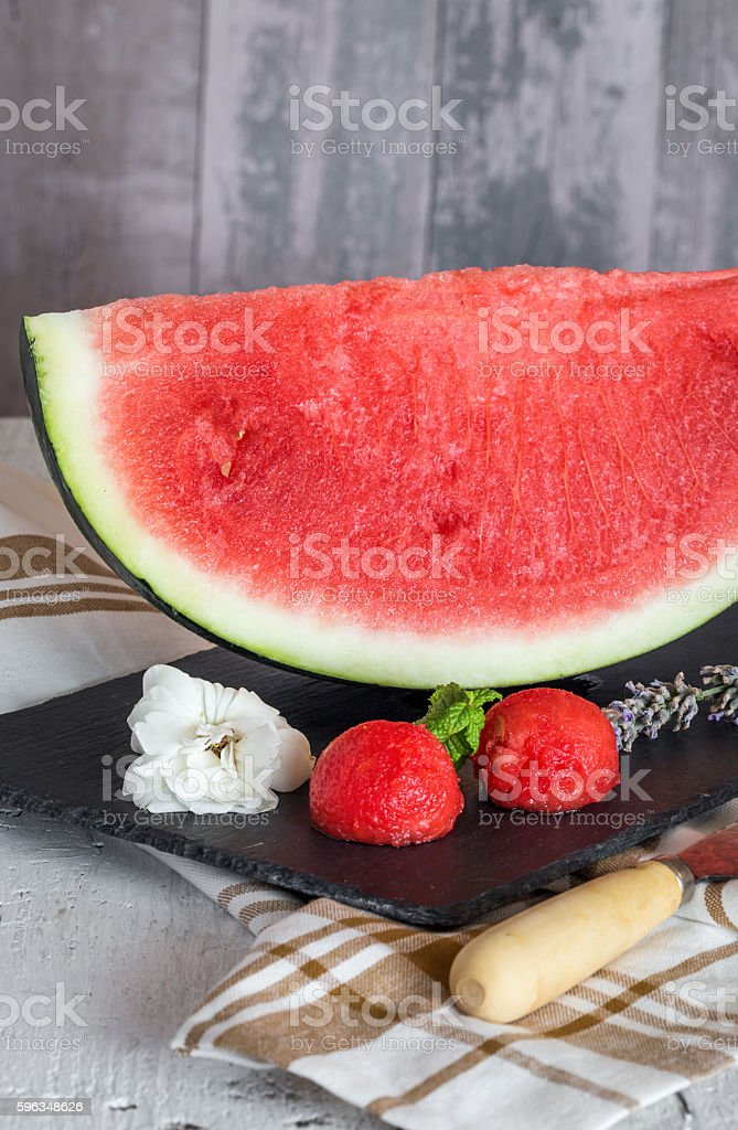 Fresh watermelon on the wooden table, selective focus royalty-free stock photo