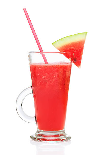 fresh watermelon smoothie stock photo