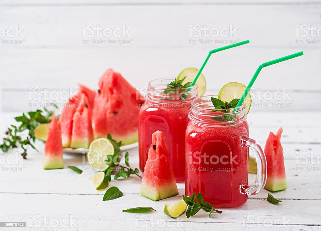 Fresh watermelon smoothies with lime and mint stock photo