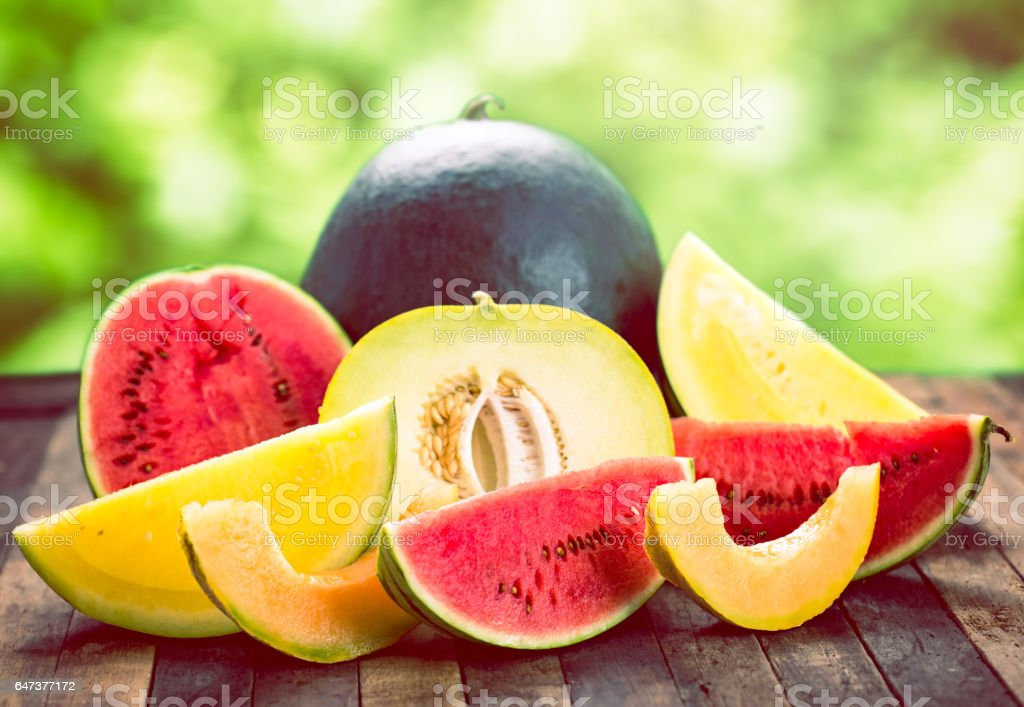 Fresh watermelons and melons stock photo