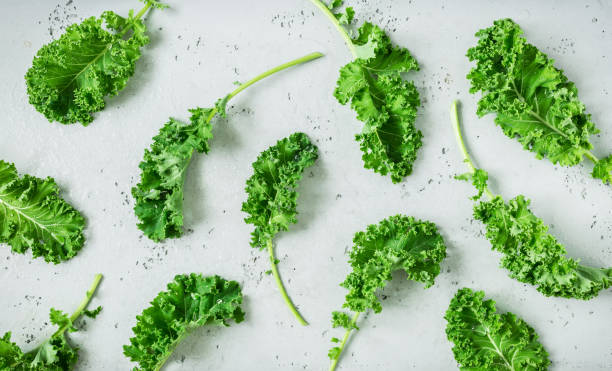 Fresh wet green kale leaves on grey background Fresh wet raw green kale leaves captured from above (top view, flat lay). Grey stone worktop as background. Layout with free text (copy) space. Superfood - healthy diet theme. kale stock pictures, royalty-free photos & images