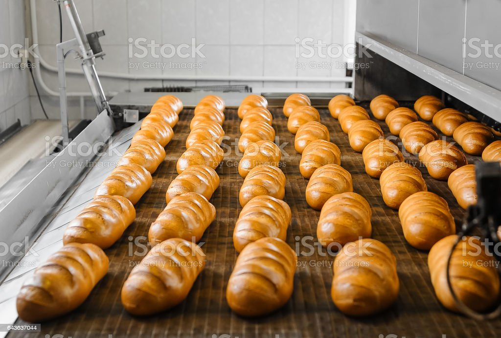 Fresh white bread from the oven stock photo