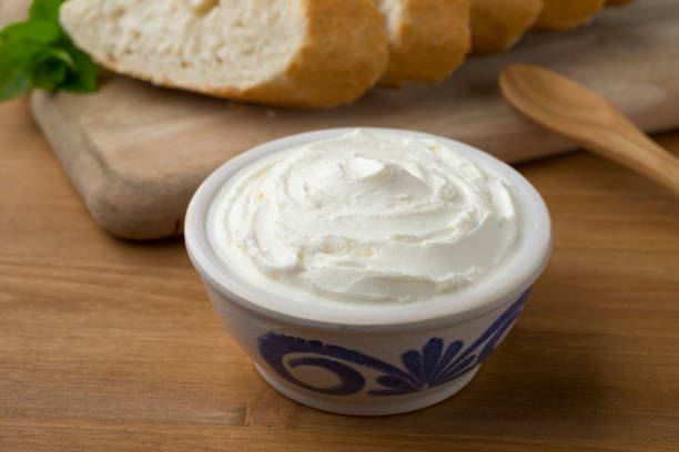 Fresh white cheese, called fromage blanc in France stock photo
