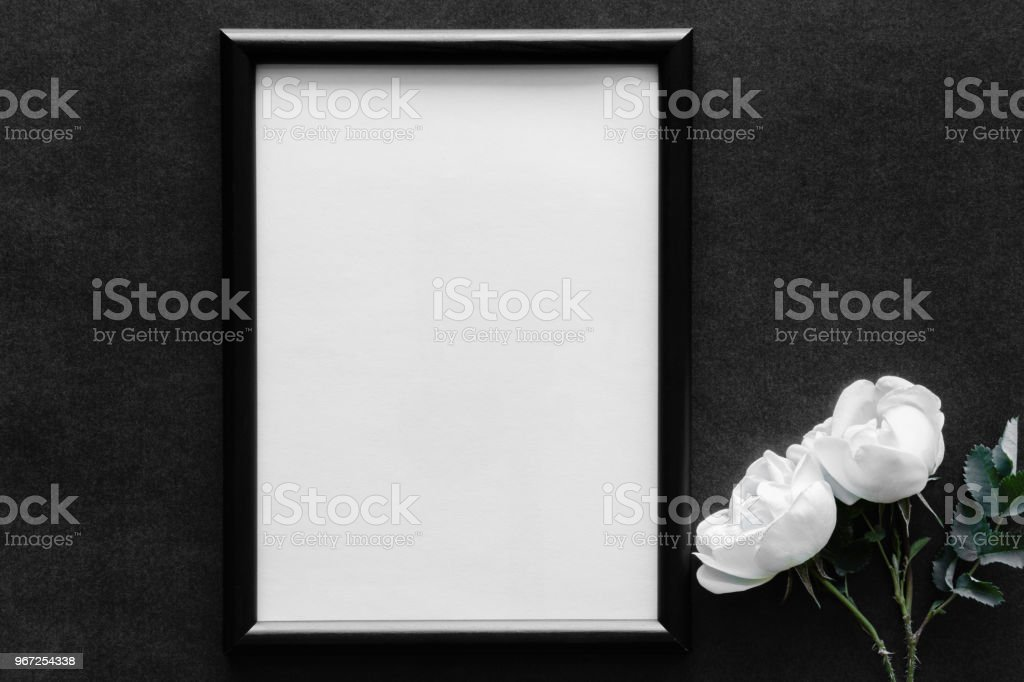 Fresh White Roses On The Dark Background Condolence Card Empty Place ...