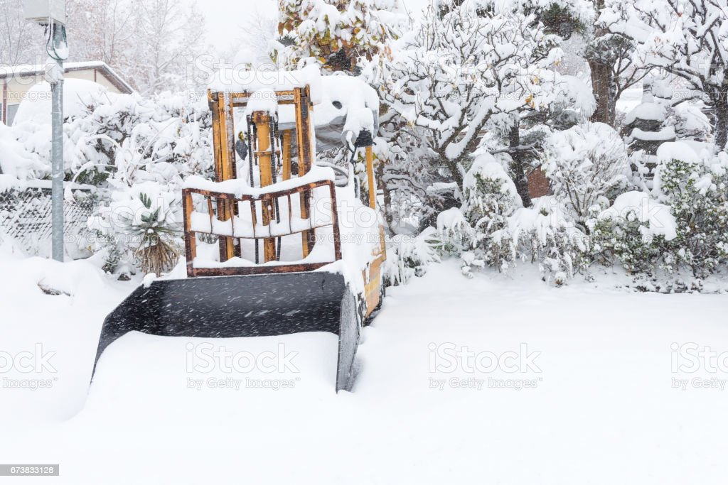 Fresh white snow falling in winter season at Kawaguchiko,Japan royalty-free stock photo