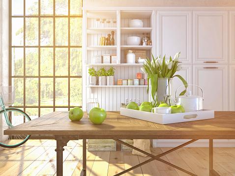 fresh white tulips on kitchen background