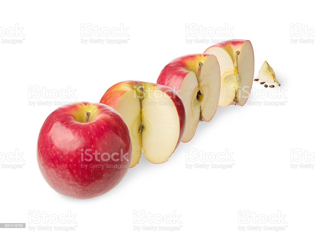 Fresh whole and cutted apple stock photo