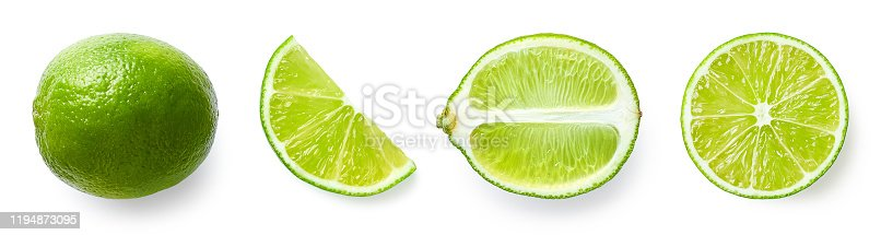 Fresh whole, half and sliced lime fruit isolated on white background, top view