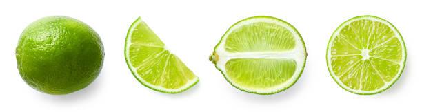frutas frescas inteiras, metade e fatiadas de limão - fatia - fotografias e filmes do acervo