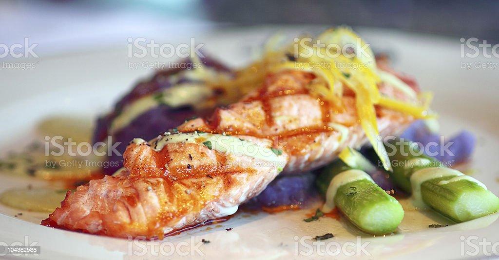 Fresh Wild Alaskan Salmon with Asparagus royalty-free stock photo