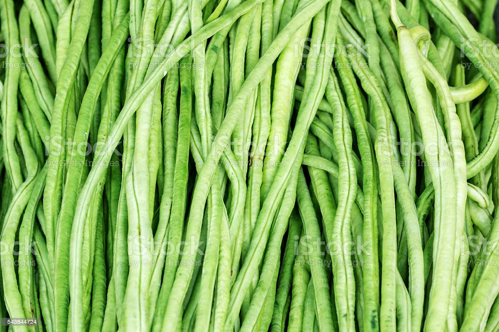 fresh yard long bean in the market. stock photo