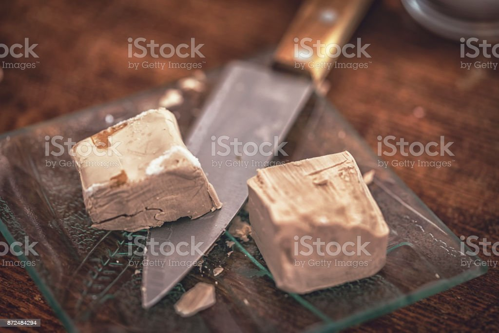 Fresh Yeast Cubes stock photo