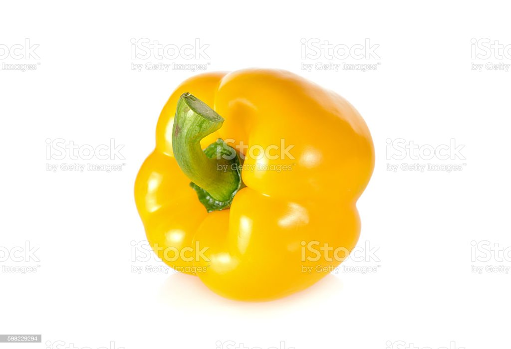 fresh yellow bell pepper with stem on white background foto royalty-free